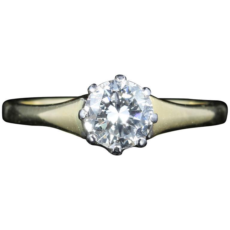 Antique Victorian 0.70 Carat Diamond Engagement Ring, circa 1900, 18 Carat Gold