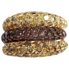 Trio of Wavy Yellow, Chocolate and Green Diamonds 3,31 Ct Pave-Set Band Rings