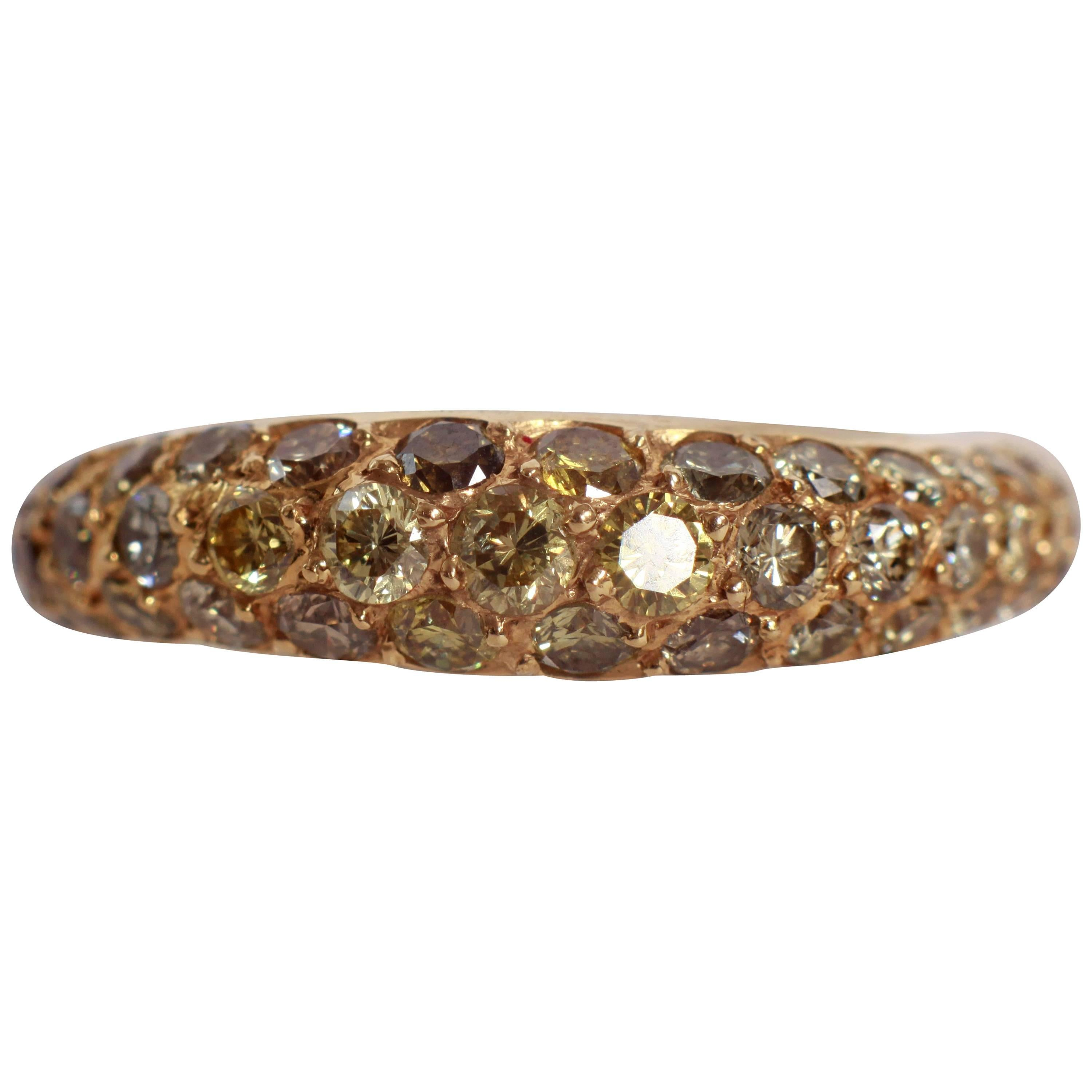 1,13 Carats Lightly Wavy Yellow Diamond Pave-Set Band Ring  by Marion Jeantet