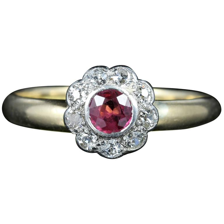 Antique Ruby Diamond Engagement Ring 18 Carat Gold Dated Chester, 1903