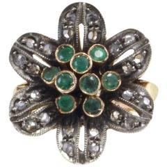 Gold Silver Diamond Emerald Ring