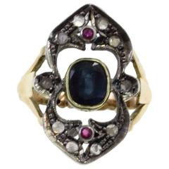 Luise Ruby Sapphire Diamond Silver Gold Retro Ring