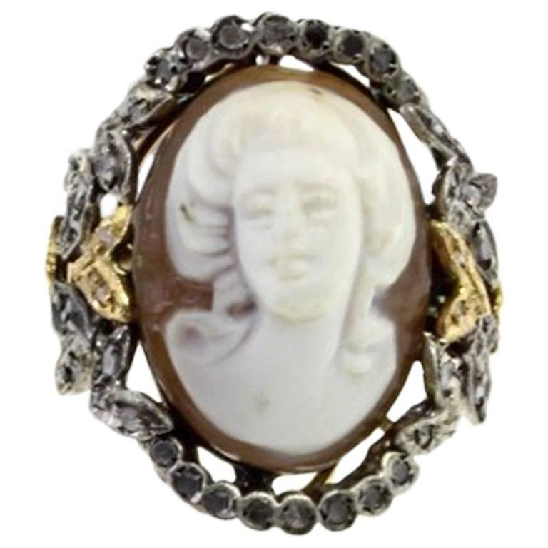 Diamond Silver Gold Cameo Ring