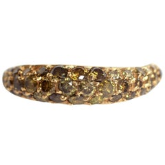 1,08 Carats Lightly Wavy Green Diamonds Pave-Set Band Ring by Marion Jeantet