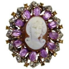 Luise Gold Silver Diamond Topaz Amethyst Cameo Cocktail Ring