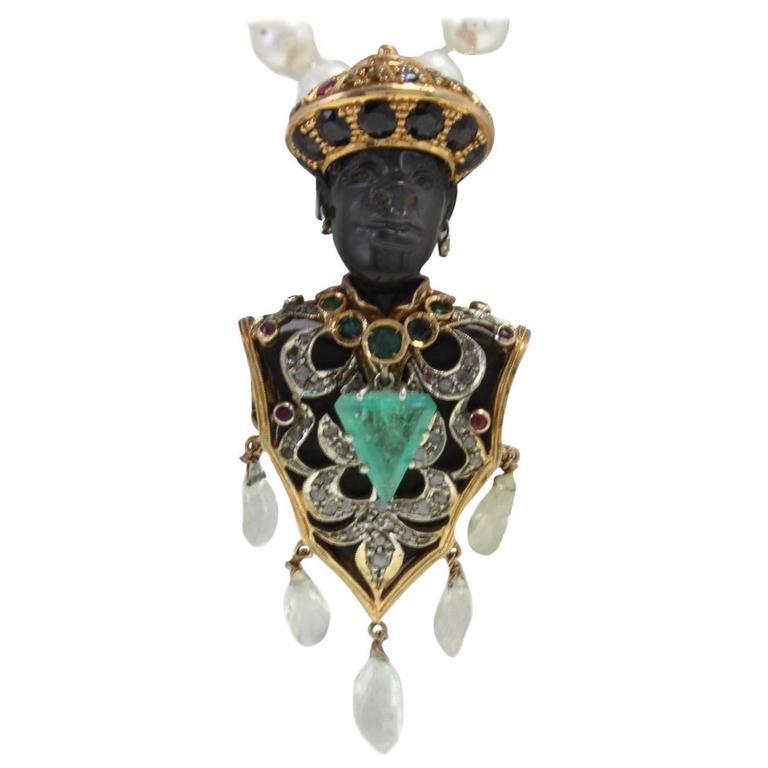 Sapphire Ruby Emerald Diamond  Moretti Pendant and Beaded Gold Necklace