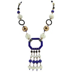 Pearl Onyx Silver Gold Stone Gold Necklace