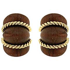 Wood Gold Shrimp Earrings