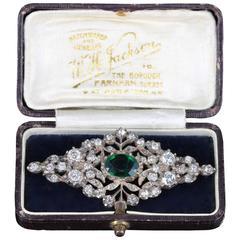 Antique Silver Green Paste Brooch Original Box