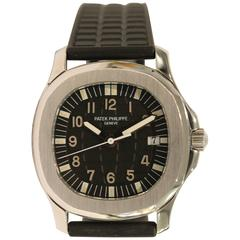 Patek Philippe Stainless Steel Aquanaut Black Dial Quartz Wristwatch