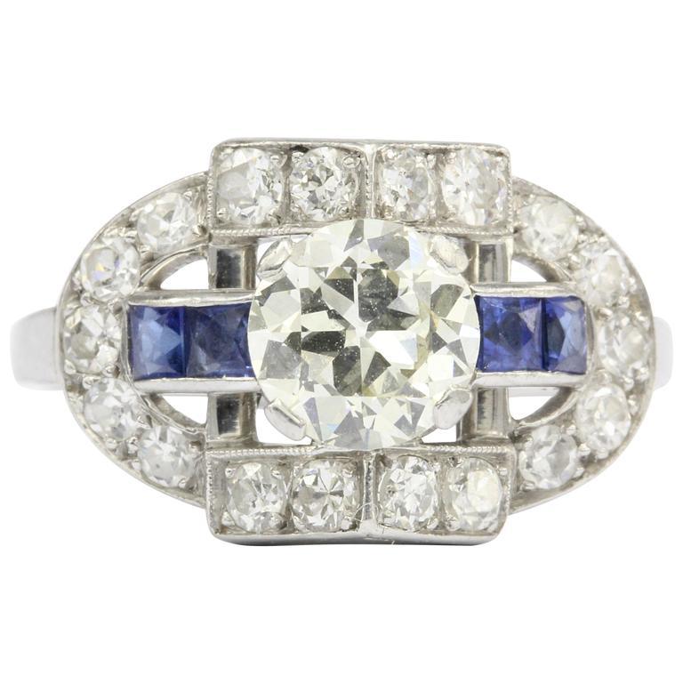 Art Deco Old European Diamond Sapphire Platinum Ring, circa 1920