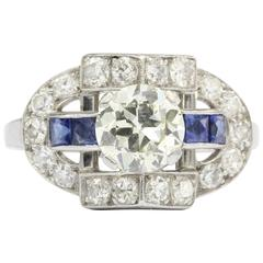 Art Deco Old European Diamond Sapphire Platinum Ring, circa 1920