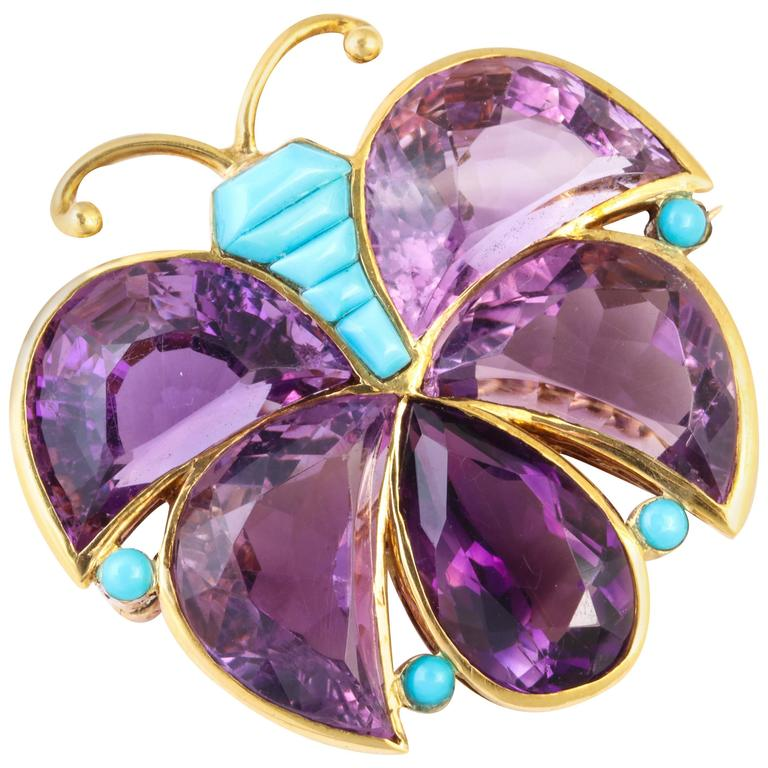 Van Cleef & Arpels Amethyst Turquoise Gold Butterfly Brooch For Sale