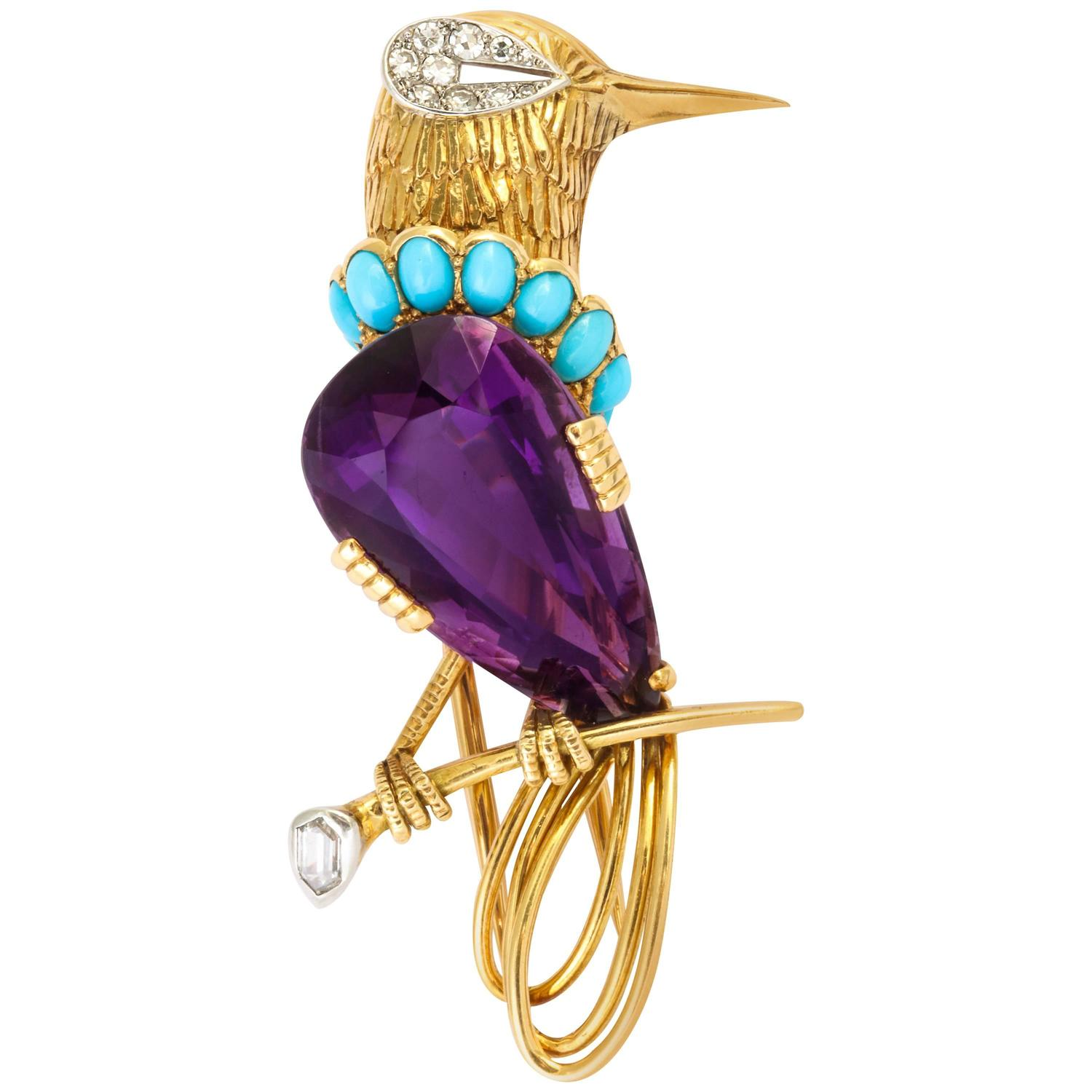 Cartier Paris Turquoise Amethyst Diamond Gold Bird Brooch