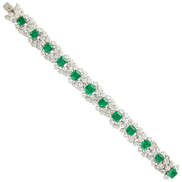 Harry Winston Emerald Diamond Bracelet For Sale