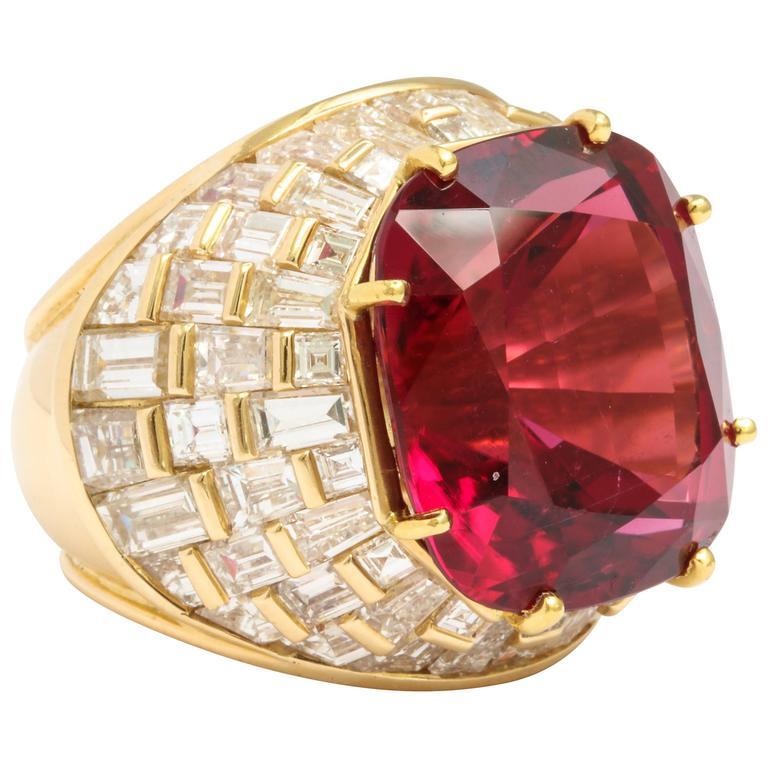 Oscar Heyman Gem Rubellite Tourmaline Diamond Gold Ring 1