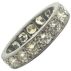 3.0 Carat Diamond Palladium Eternity Ring circa 1950