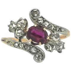 Edwardian Ruby and Rose Cut Diamond Ring