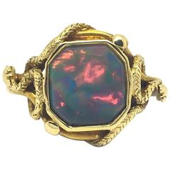 Striking Victorian Opal and Gold Snake Ring