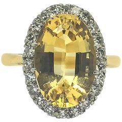 Golden Topaz Diamond Gold Cocktail Ring