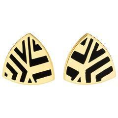 Alice Cicolini Memphis Chevron Triangle Enamel Ruby Gold Stud Earrings
