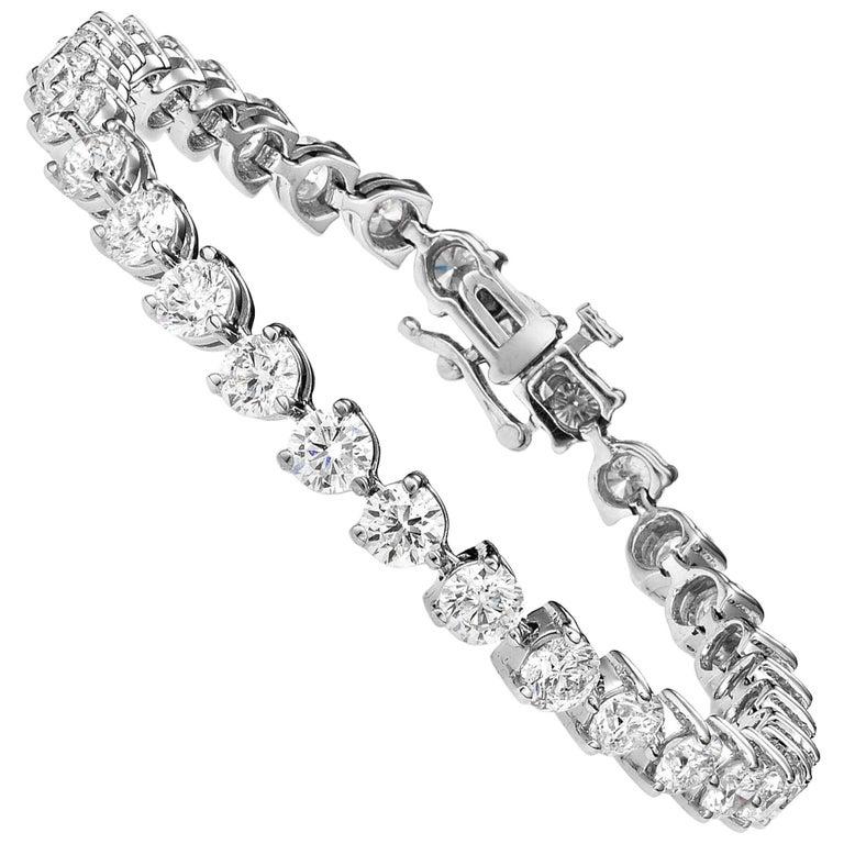 9.00 Carat Diamond Three Prong Tennis Bracelet