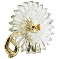 Alice Cicolini Green Amethyst Yellow Topaz Flower Gold Flower Brooch Hair Pin