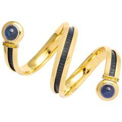Hemmerle Sapphire Gold Bangle Bracelet