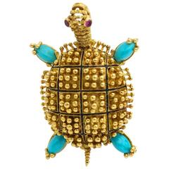 Turquoise Ruby Yellow Gold Turtle Pin Brooch