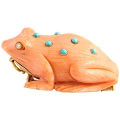 David Webb Carved Coral Frog Brooch