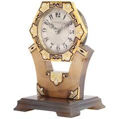 Tiffany & Co. Art Deco Carved Hardstone Blue and White Enamel Diamond Clock