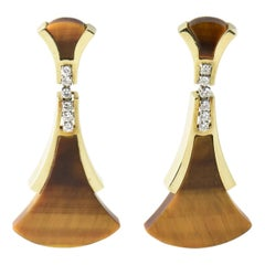 1970s Geometric Tiger's Eye and Diamond Drop Earrings