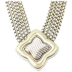 David Yurman Large Silver Gold Quatrefoil Necklace