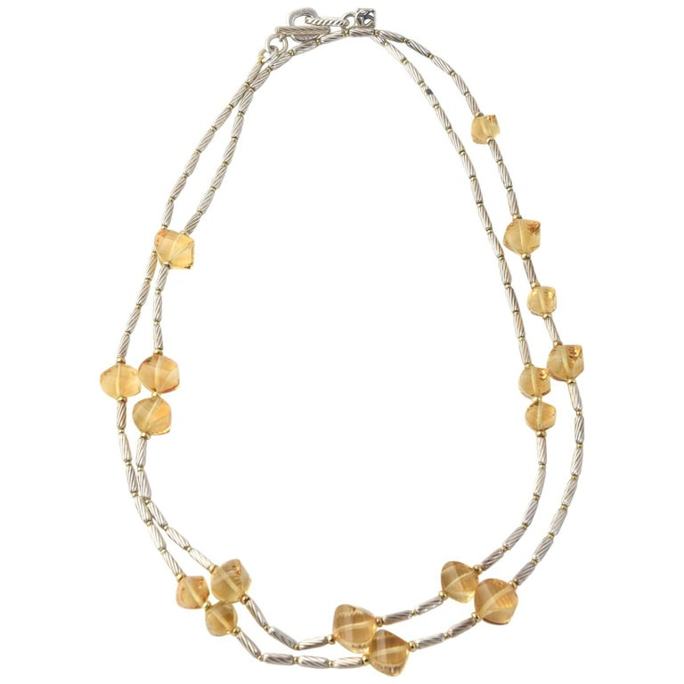 David Yurman Gold Bead and Sterling Cable Citrine Station Necklace