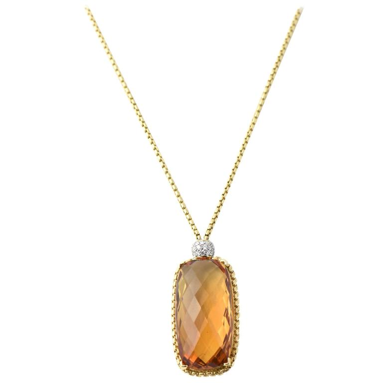 David Yurman Citrine Diamond Pendant Gold Necklace 1