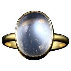 Antique Victorian Moonstone Ring 18 Carat Silver Gold