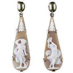 Antique Victorian Cameo Gold Earrings, circa 1900