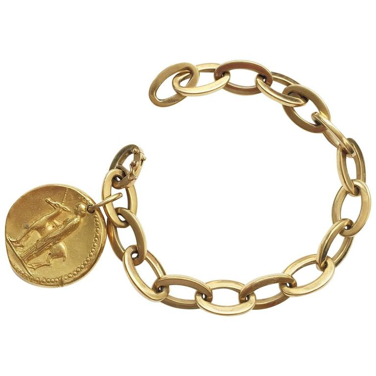 Van Cleef & Arpels Virgo Zodiac Pendant on a Gold Bracelet For Sale