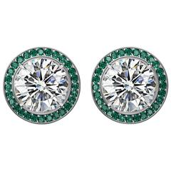 Hugo & Haan GIA Certified Platinum White Diamond and Emerald Stud Earrings