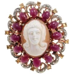 Luise Gold Silver Diamond Ruby Topaz Cameo Cocktail Ring