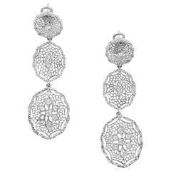 18 Karat White Gold Earrings with Diamonds by Opera, Italian Attitude