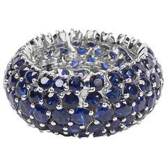 18 Karat White Gold Ring with Sapphires by Opera, Italian Attitude