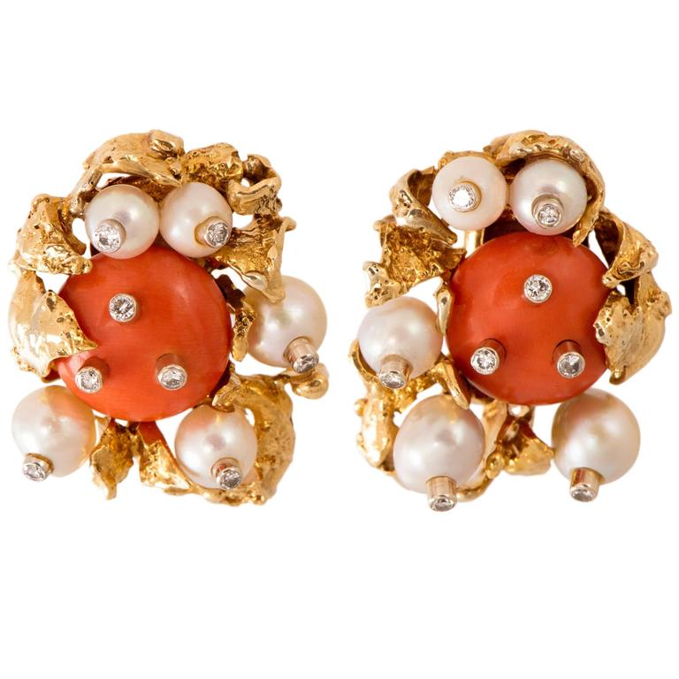 1960s David Webb Coral Pearl Diamond Gold Ear Clips