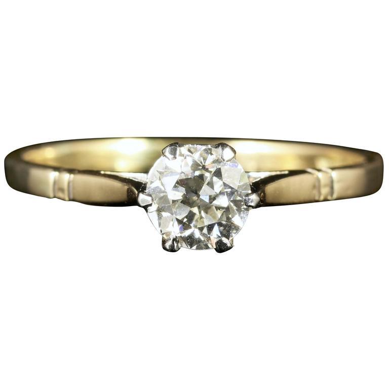 Edwardian Diamond Solitaire Ring 18 Carat Gold circa 1915 Engagement Ring