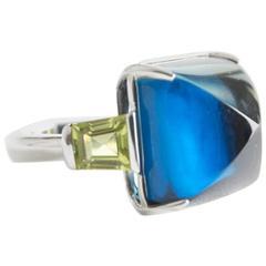 Topaz Peridot White Gold Ring by Opera, Italian Attitude