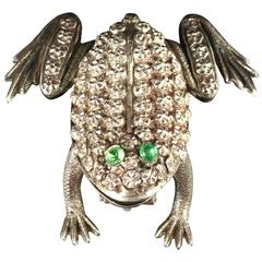 Antique Victorian Paste Silver Frog Brooch, circa 1900