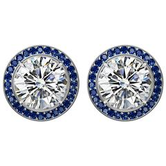 GIA Certified 2 Carat Diamond Stud Earrings with Blue Sapphire Pave