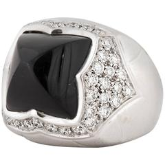 Bulgari Onyx Diamond Pyramid Ring