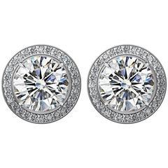 2 Carat GIA Certified Diamond Stud Earrings with Diamond Pave