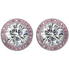 GIA Certified 2 Carat Diamond Stud Earrings with Pink Sapphire Pave